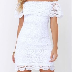 Lulu's White Lace Off-the-Shoulder Dress Sz M
